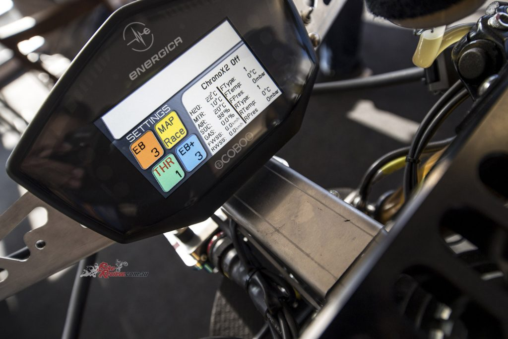 The Cobo TFT display is 480 x 272 resolution with a GPS receiver, BT communication and monitors everything on the bike.