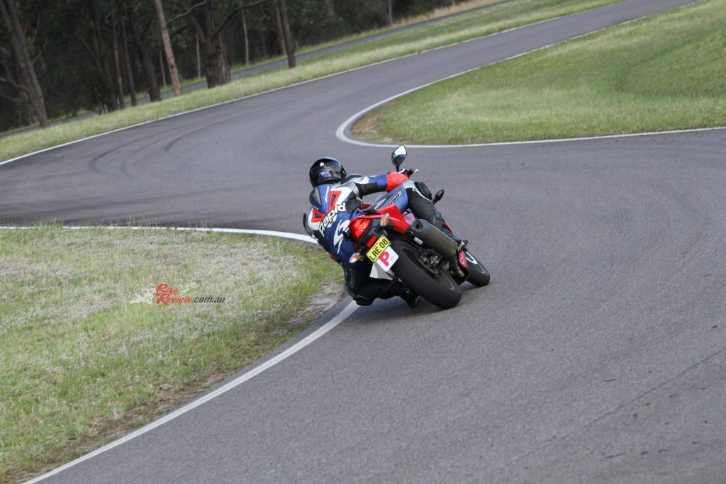 Jack cutting some laps on the proving ground we use, testing the limits of the Battlax S21 hoops.