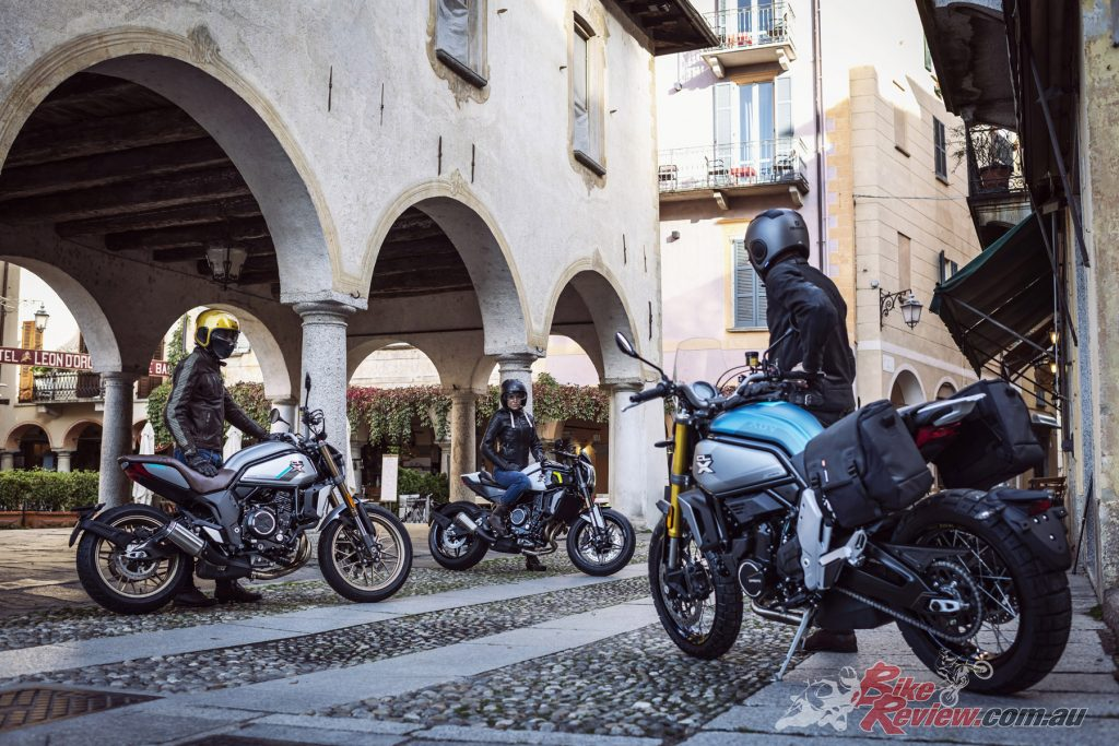 Three new models from CFMoto, the 700CL-X Heritage (L), Sport (centre) and Adventure (R).