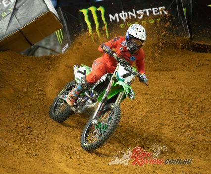 #7 Dylan Long (Empire Kawasaki) during heat races at Round 5 2019 Australian Supercross Championship in Melbourne on November 30 2019 Photo: Marc Jones Photography Marc Jones/Foremist Media Photo information Canon EOS-1D X Mark II Canon EF 70-200mm f/2.8L IS II USM 2.8 1/1250 3200 30NOV19 6:18:04 pm