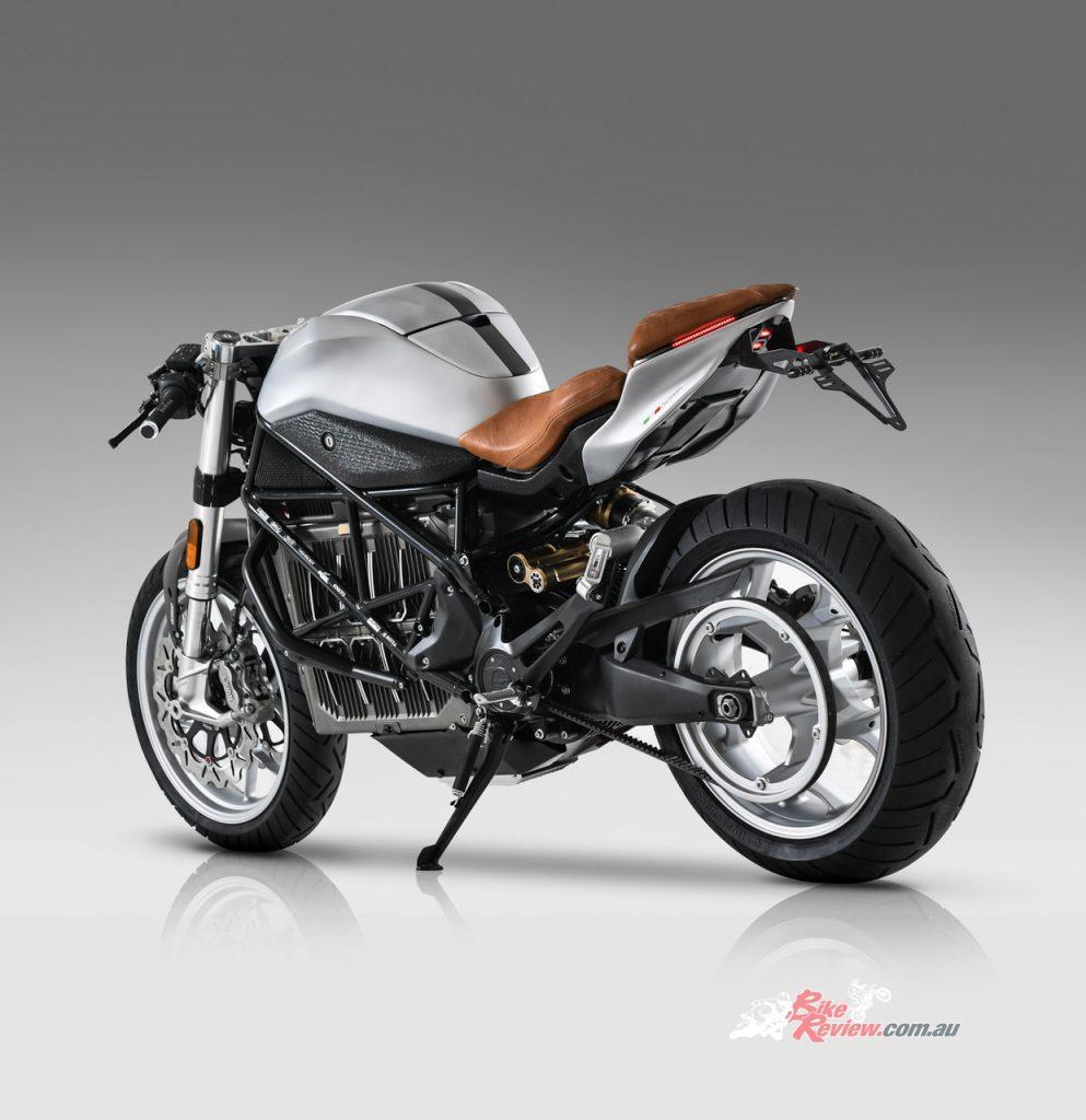 The E-Racer EDGE is based on Zero Motorcycle's SR/F Café Racer.