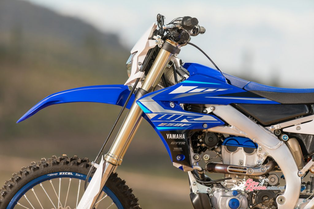 Front suspension features the same KYB upside-down fork found on the YZ250F, but with enduro specific settings.