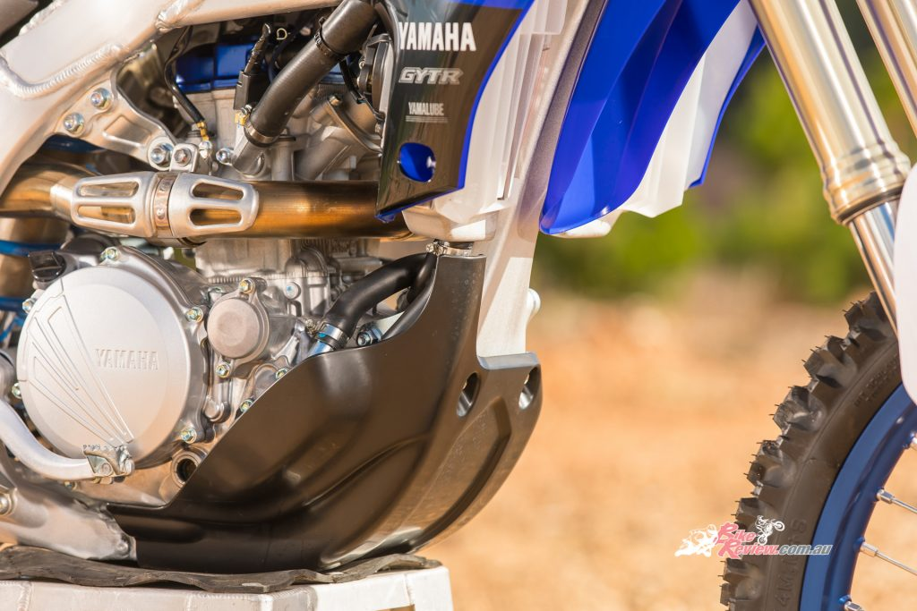 The 2020 WR250F will feature a lighter, yet more protective bashplate.