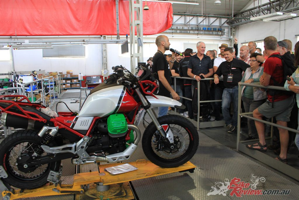 A Moto Guzzi V85 TT on the assembly line at the Moto Guzzi factory on the Open Day.