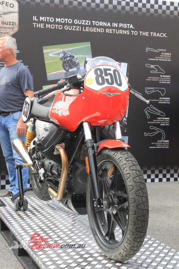 Moto Guzzi legends could be found everywhere at the Open House, such as this classic race-oriented Moto Guzzi.