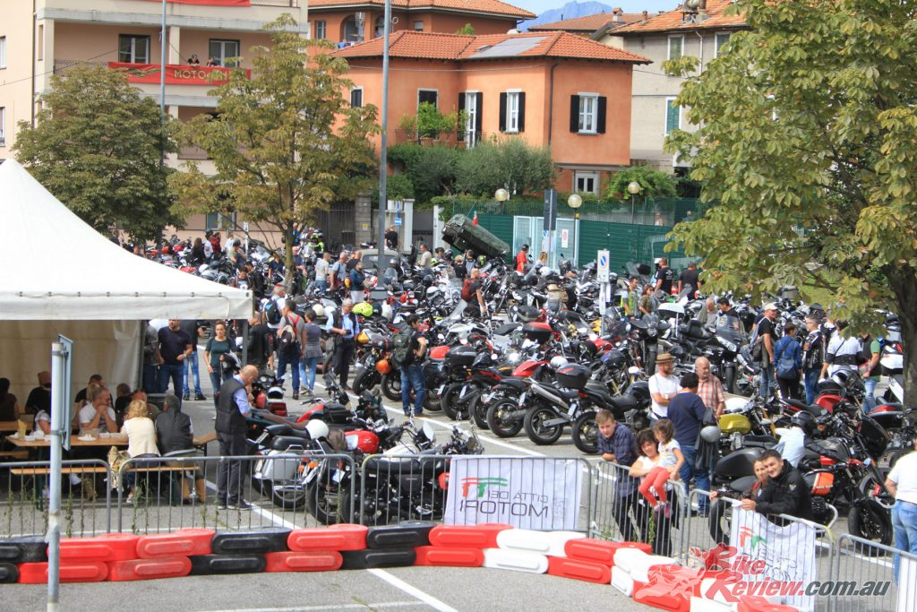 The whole town on Mandello gets involved in the Moto Guzzi Open Day, with many locals taking part in the event.