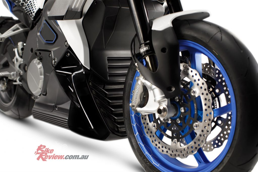 Brembo radial-mount calipers, petal rotors and ABS equipped.