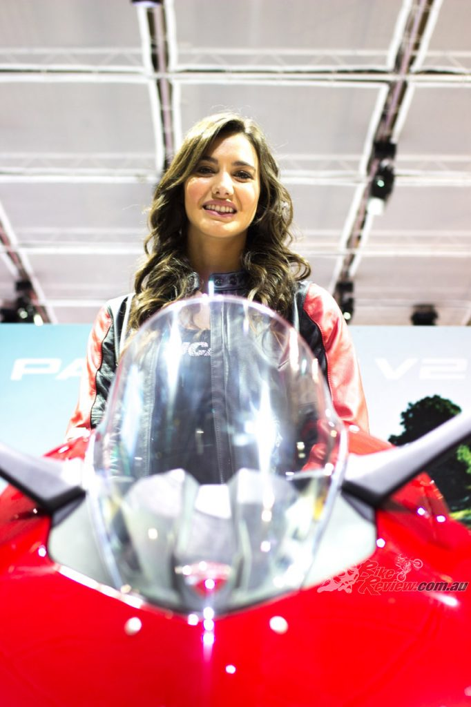 Federica Negri on the Ducati Panigale V2.