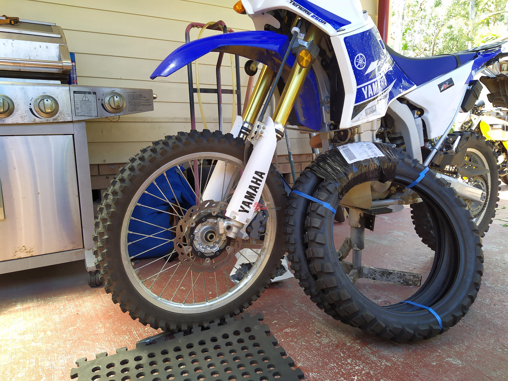 Front brakes are not a strength on the WR250R, particularly with a full Safari fuel load on...