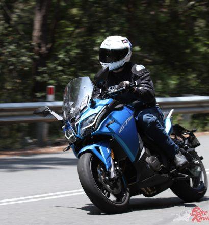 The steering geometry is conservative and stable, the weight low, but the GT can still be punted through the turns at a decent pace and is fun to ride in the twisties.