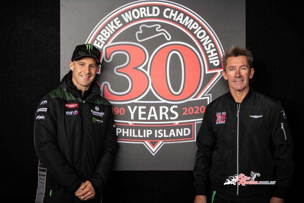 Jonathan Rea (left) pictured with Troy Bayliss (right), WSBK champ and father of current World Supersport rider Oli Bayliss.