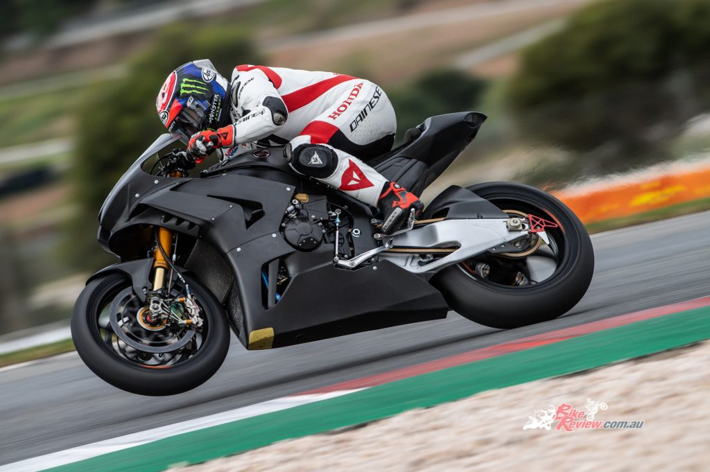 HRC's Leon Haslam leading for Honda, putting in a faster lap time than his racing action in Portimao.