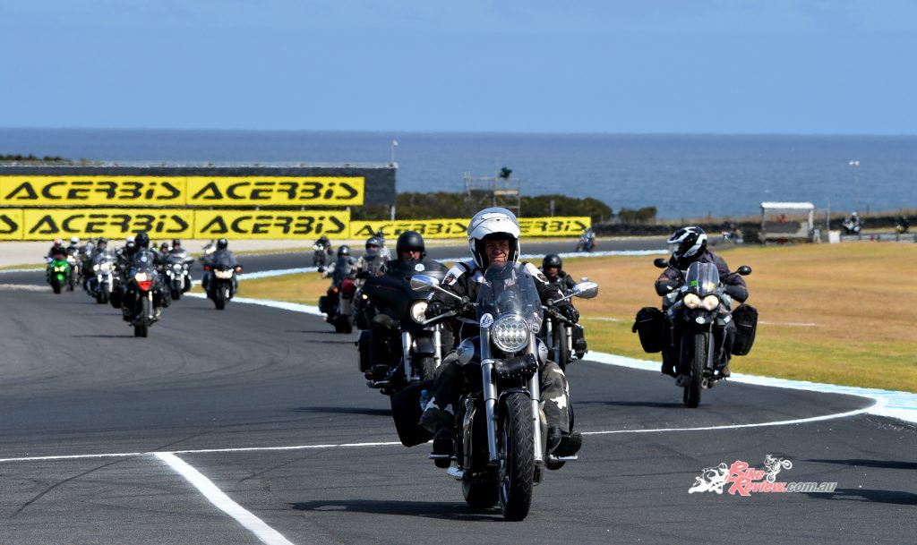 Riders who participated in the 2019 Black Dog Ride were treated to a lap of the Phillip Island circuit!