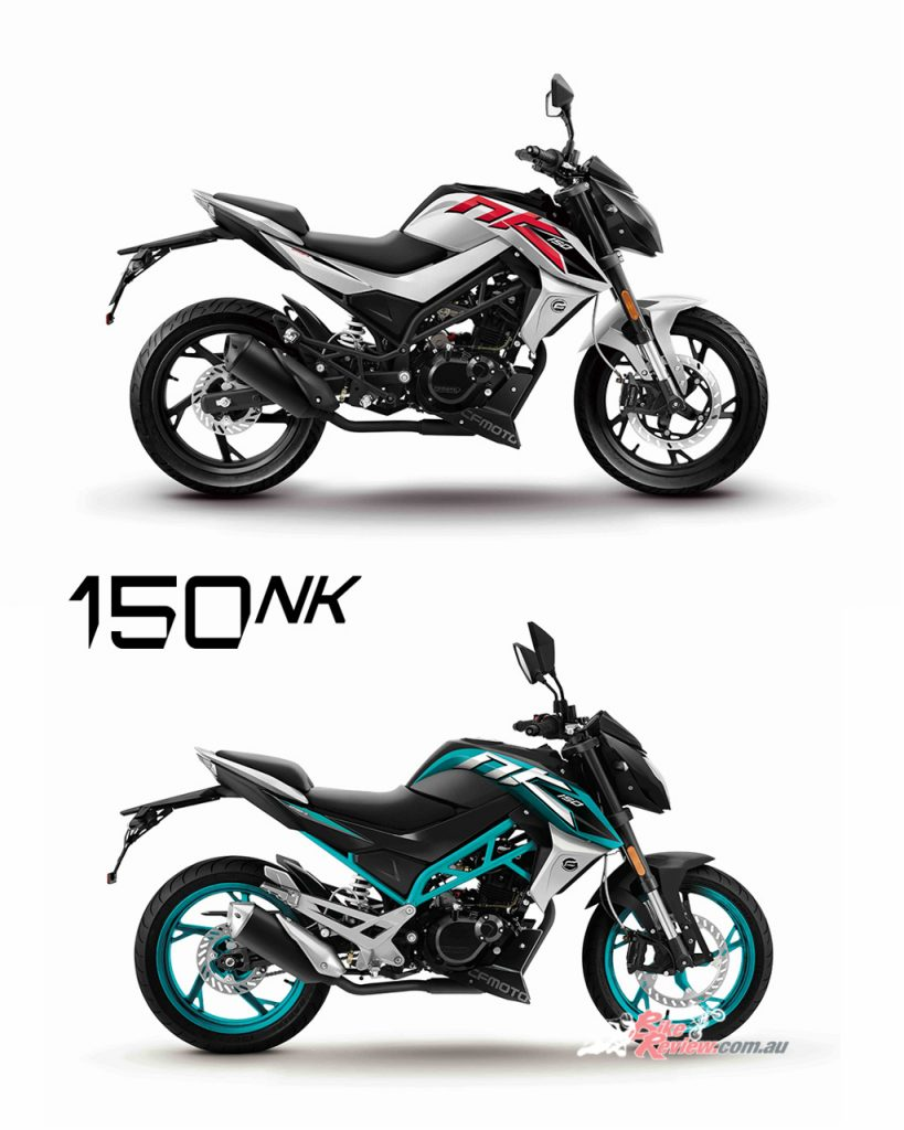 CFMoto 150NK shown in Black/White (Top) and Black/Teal (Bottom).