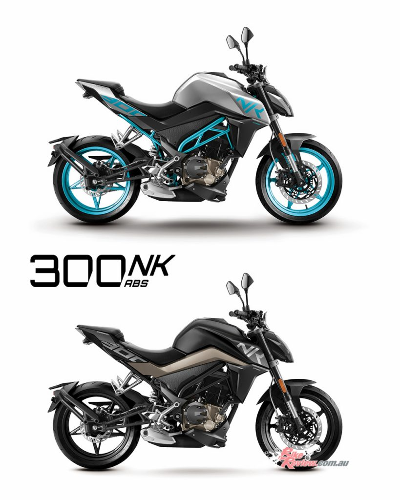 CFMoto 300NK ABS shown in Sliver/Teal (Top) and Midnight Black (Bottom).