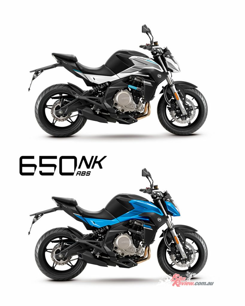 CFMoto 650NK ABS shown in Black/White (Top) and Black/Blue (Bottom).