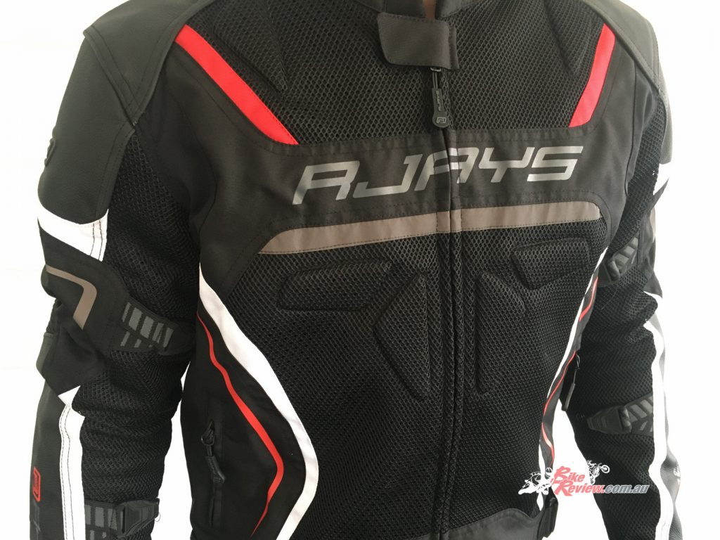 The jacket is constructed of premium leather, 3D high tenacity mesh and poly 600D, and is quite good looking.