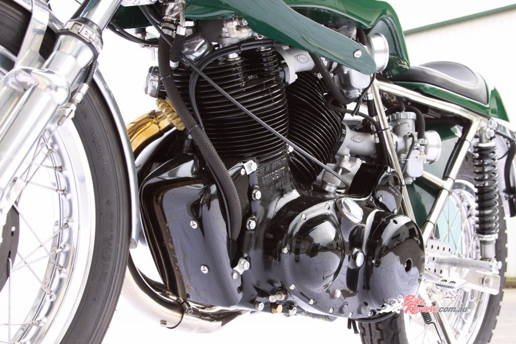 The 1300cc motor is built to Egli's original specifications, and tuned for mid-range torque and approx. 100hp at the rear.