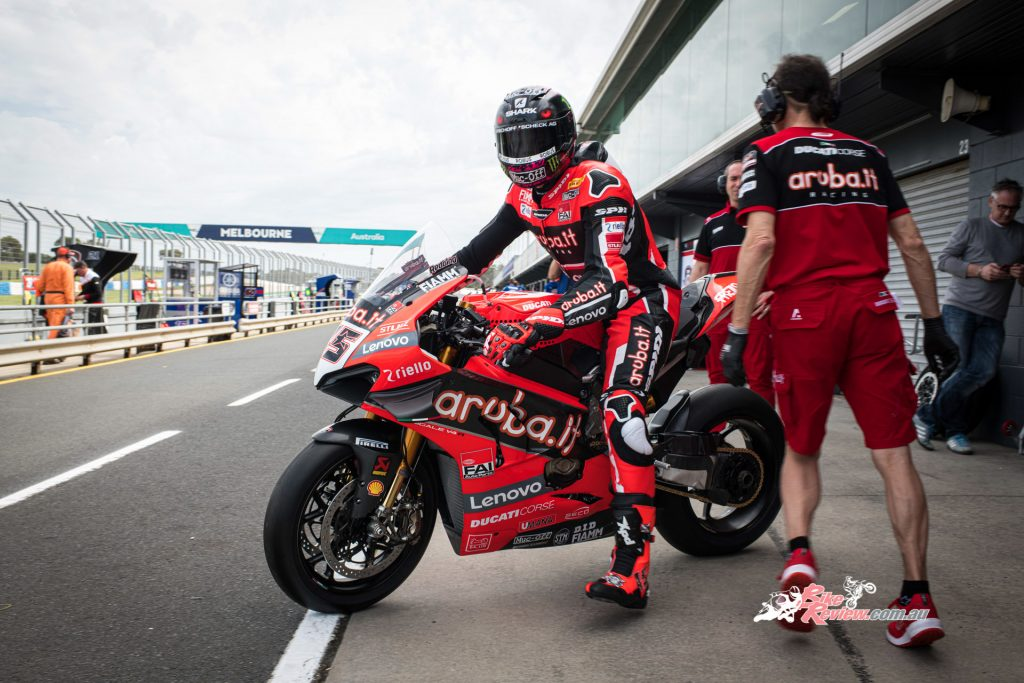 Redding joins the Aruba.it Racing team onboard a factory Ducati Panigale V4 R, accompanied by teammate Chaz Davies.