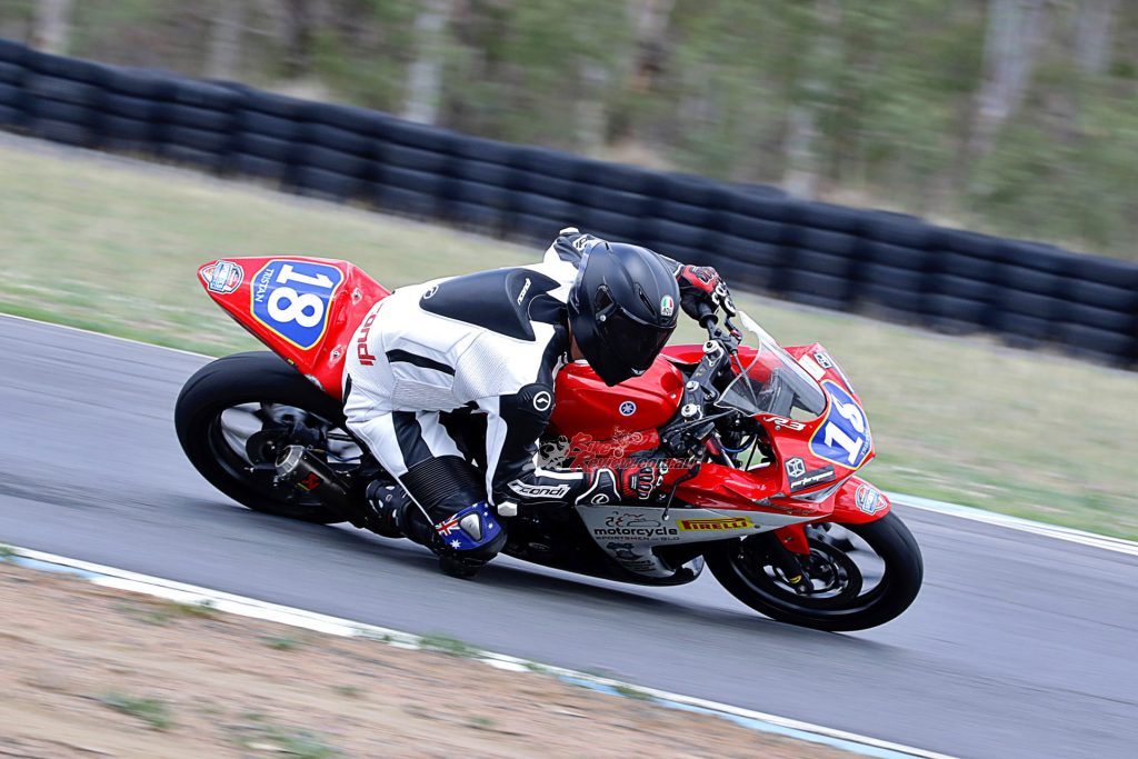 Motorcycle Sportsmen of Queensland club pilot Tristan Vercoe spinning laps on the supported Yamaha R3. Photo by Images Everything