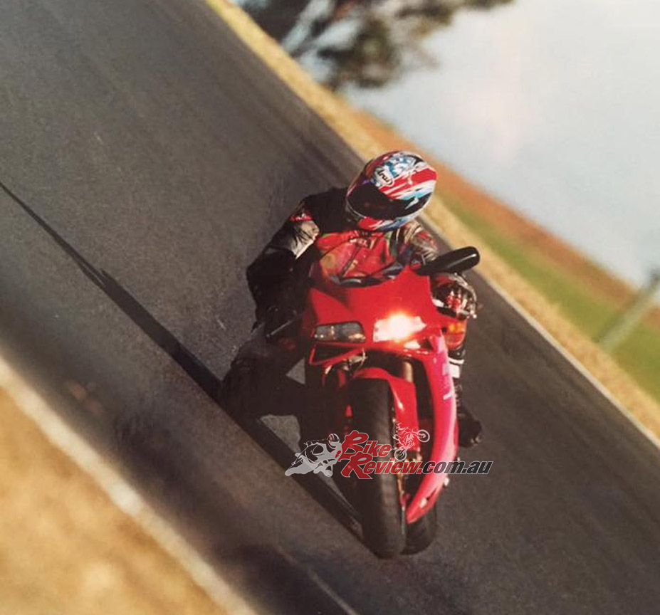 My very first magazine test ride. Jeremy Bowdler asked me to ride this Ducati at SMSP in 2001, to see if I could ride OK. I'd never ridden a Ducati and on stock tyres I did a 1:39 on it straight away. He was stoked and I got the gig in the end. I actually thought the time was slow as I think we were doing 1:39s years earlier in the 1990s in Supersport.