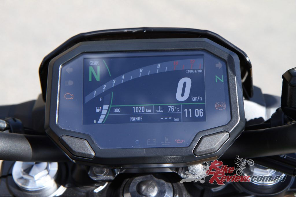 The new TFT dash, with smartphone connectivity through the Rideology app, which allows you to view ride and vehicle stats.