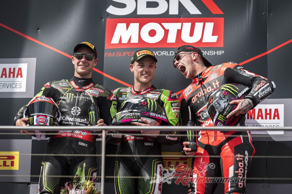 Rea, Lowes and Redding celebrate an all-British podium on Sunday.