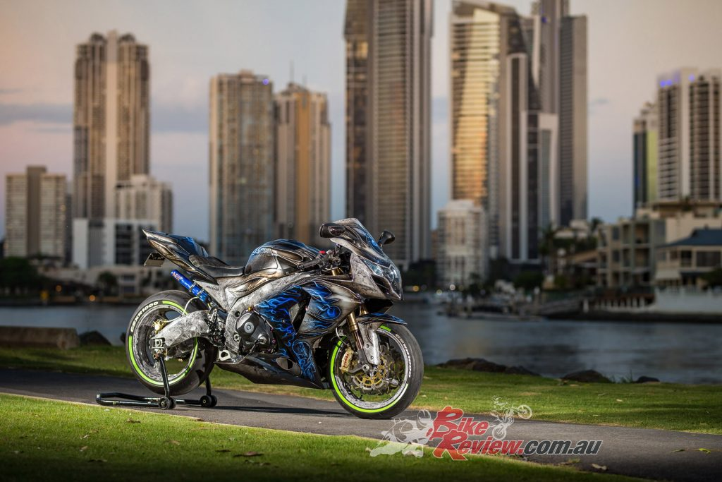 With the Gold Coast as a backdrop, the GSX-R1000 Turbo is simply stunning to look at...