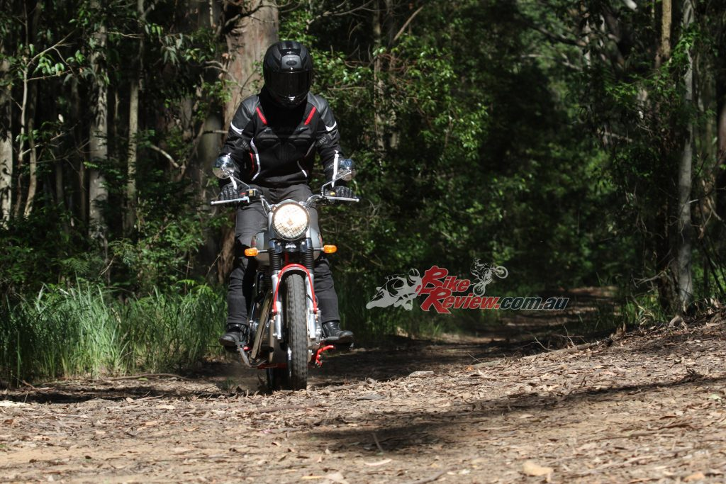 Off road testing was limited to low speed trails or flat dirt roads but the bike didn't feel at home.