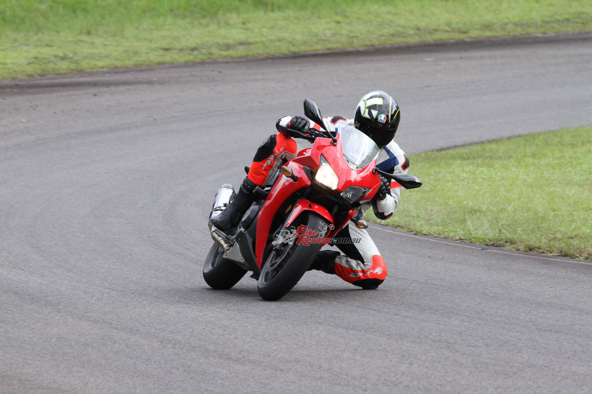Nick trying his best to crash test the CBR500R Oggy Knobbs!