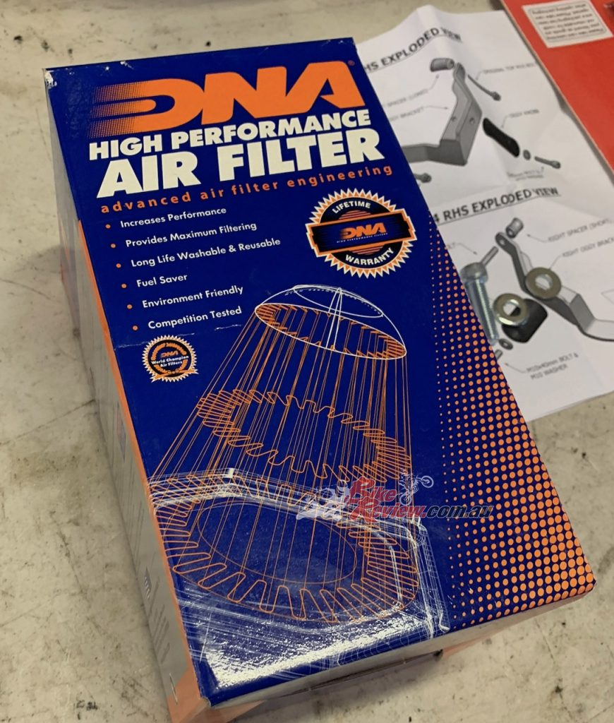 DNA Air Filters held the highest ratings in terms of performance gains and ease of fitment, so I chose them for the Honda.