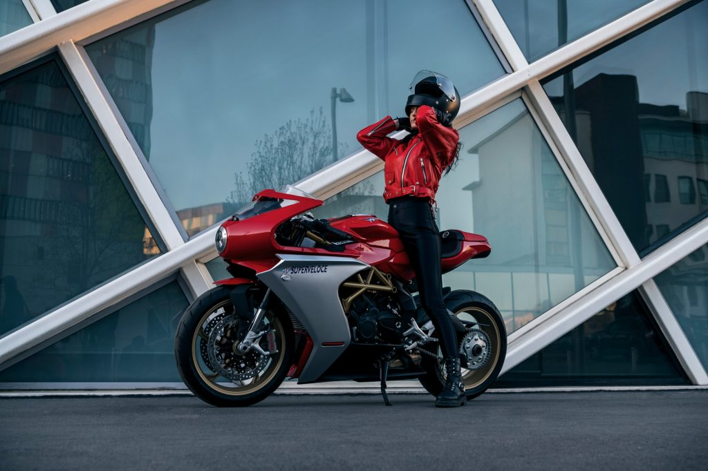 MV Agusta's Superveloce 800 in the Ago Red / Ago Silver colourway, with gold frame and wheels.