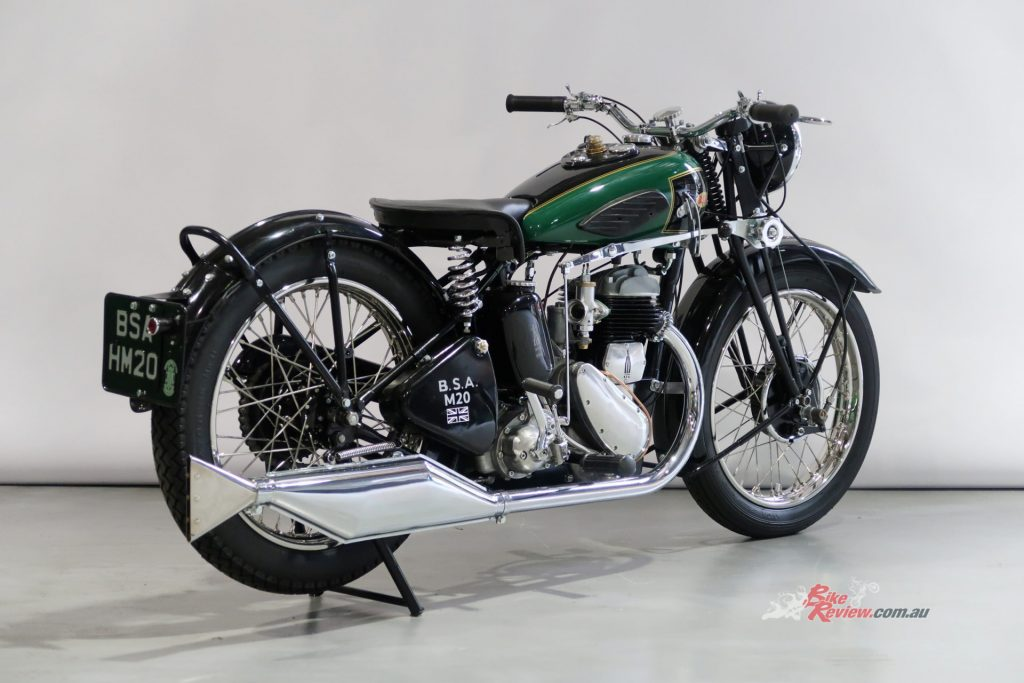 There are two restored 500cc Pre-War BSA solos in the online auction – a circa 1935 Model W35-7 and a c1937 M20.