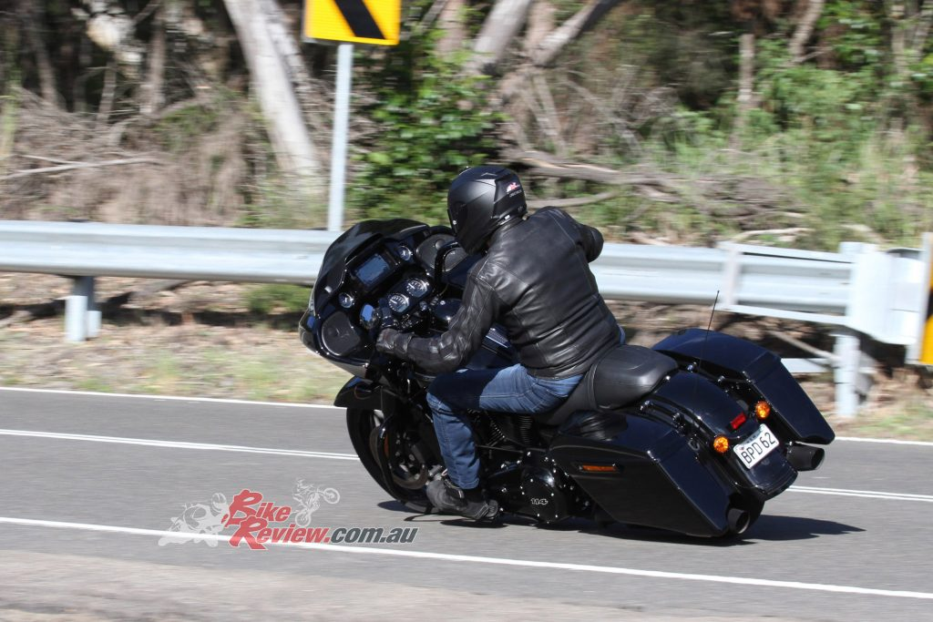 """""""The Road Glide Special has 32º of lean angle, big wide' bars and foot position that allows the use of 'peg/board inputs."""""""