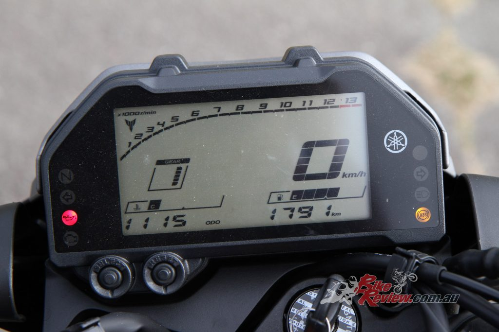 The LCD dash is a standout on the new MT-03, with a tonne of features including a shift light and oil-change trip meter!