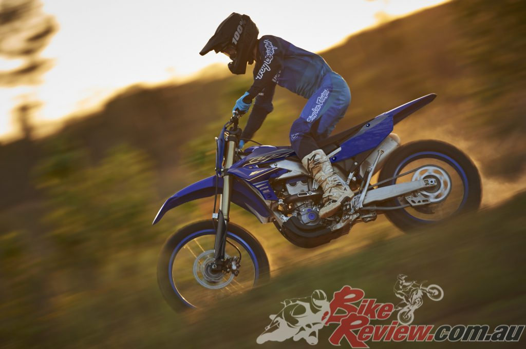 The 450FX dirt bike includes a headlight to enable these models to be registered in states such as VIC.
