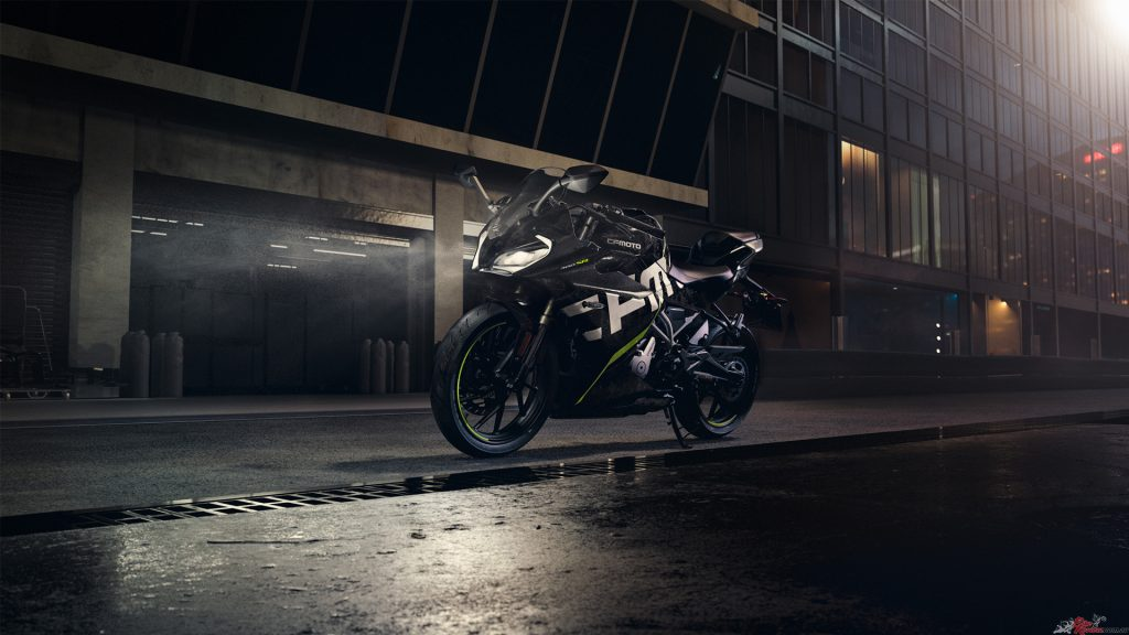 According to CFMOTO, superior stopping power allows you to play hard and brake hard with the 300SR ABS.