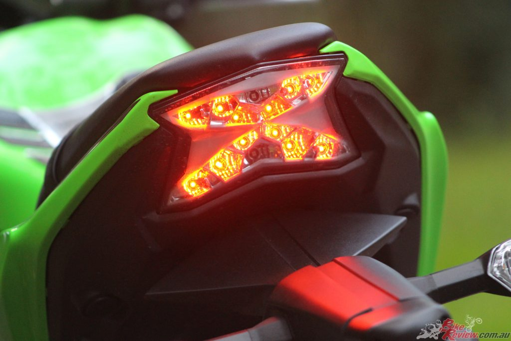 The LED taillight lights up with the letter 'X', a cool little feature that adds character to the Ninja 650L.
