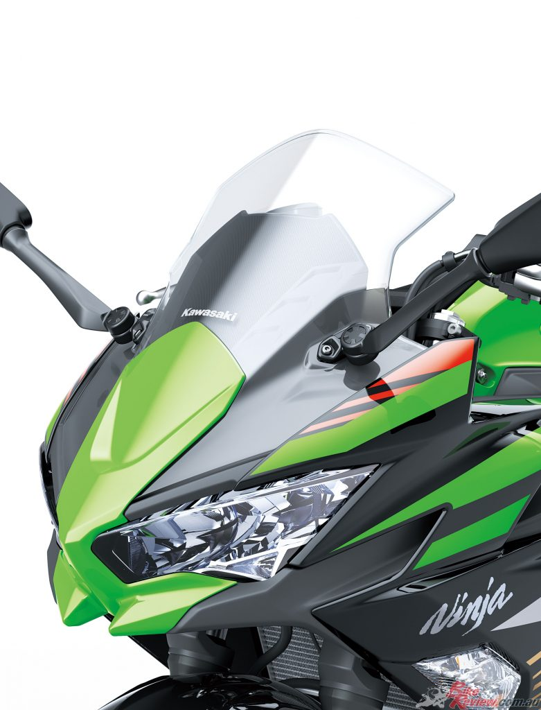 Upper cowl is wider with a more pronounced slant, contributing to stronger supersport looks.