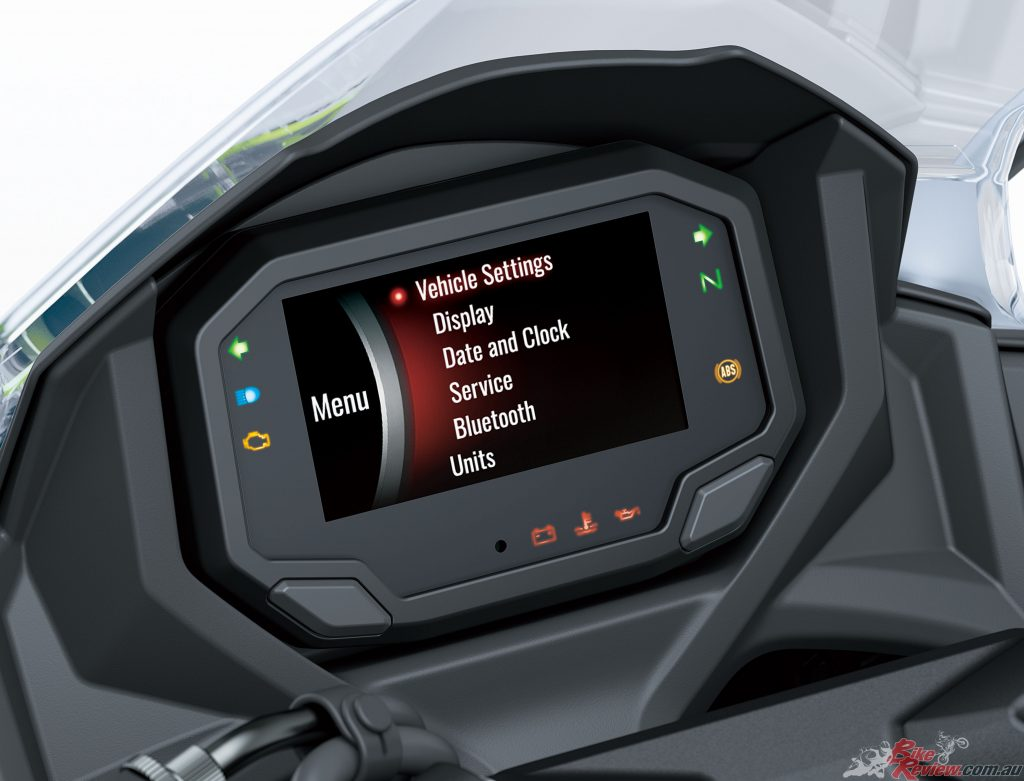 A Bluetooth chip built into the instrument panel enables riders to connect to their motorcycle wirelessly.