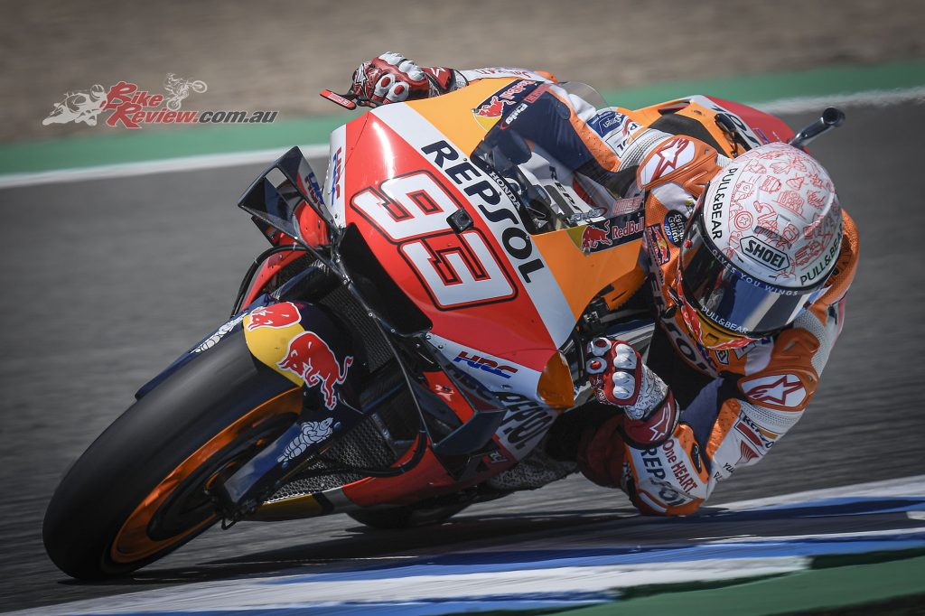 Marquez broke his humerus in a crash during the Spanish GP and returned to Barcelona on Monday.