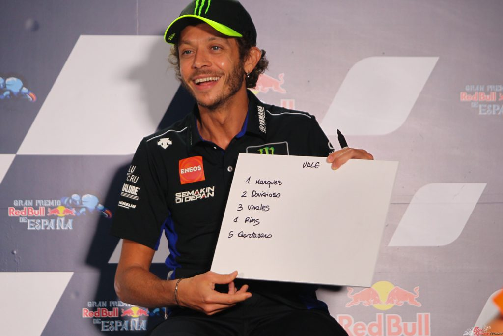 From Rins it moved on to Rossi, who has also been making headlines but of a different kind.