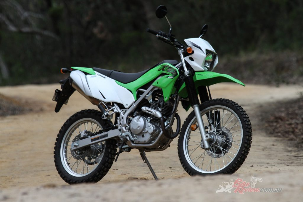 The 2020KLX230 is an affordable dual-purpose motorcycle for leaners, handling road and off-road duties with ease.