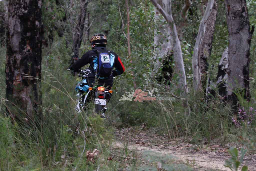 The KLX230 sets a good pace on the single track, and it's lightweight build means it is super easy to handle.