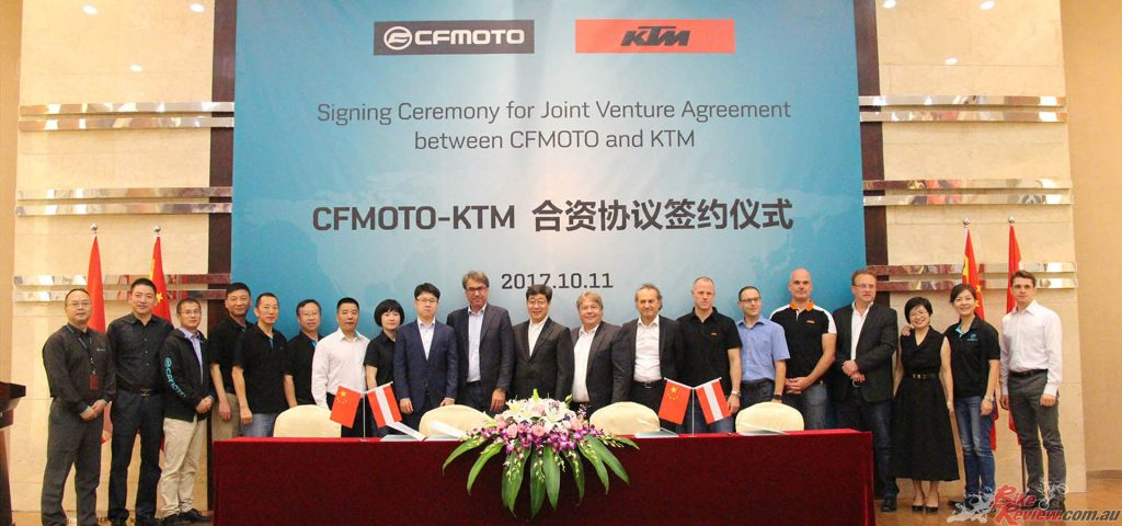 CFMOTO partnered with KTM in 2013 to produce small-capacity KTM-badged models for China.