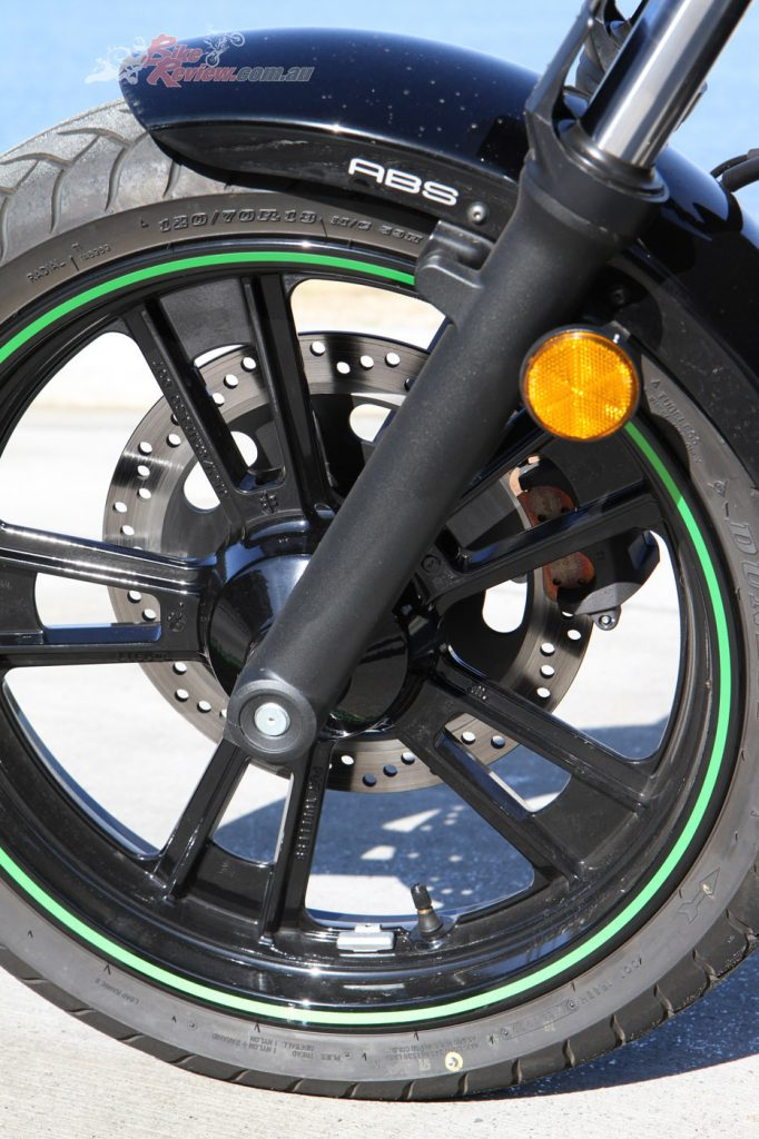 The Dunlop tyres do a good job in a range of conditions despite having no special mention from Kawasaki.