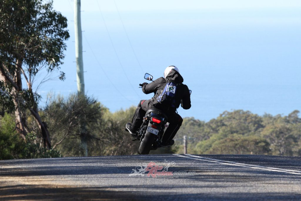 Utilising the low-mid range, riders can get a speedy drive out and get on the throttle nice and early into the exit.