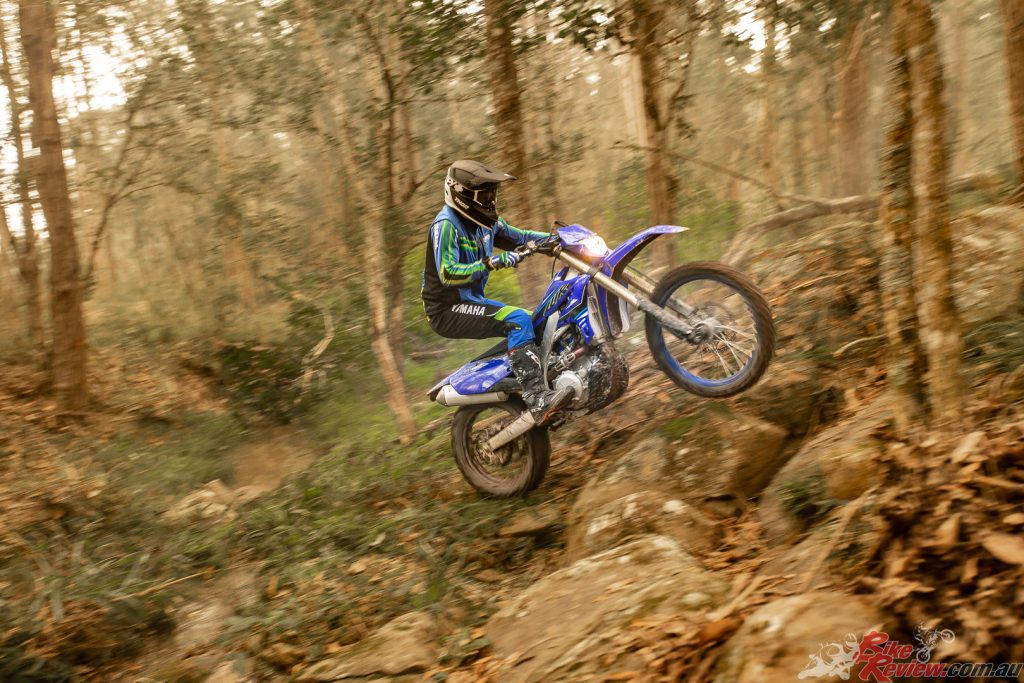 Yamaha say progressive, smooth KYB suspension on the WR450F continues to absorb big impacts.