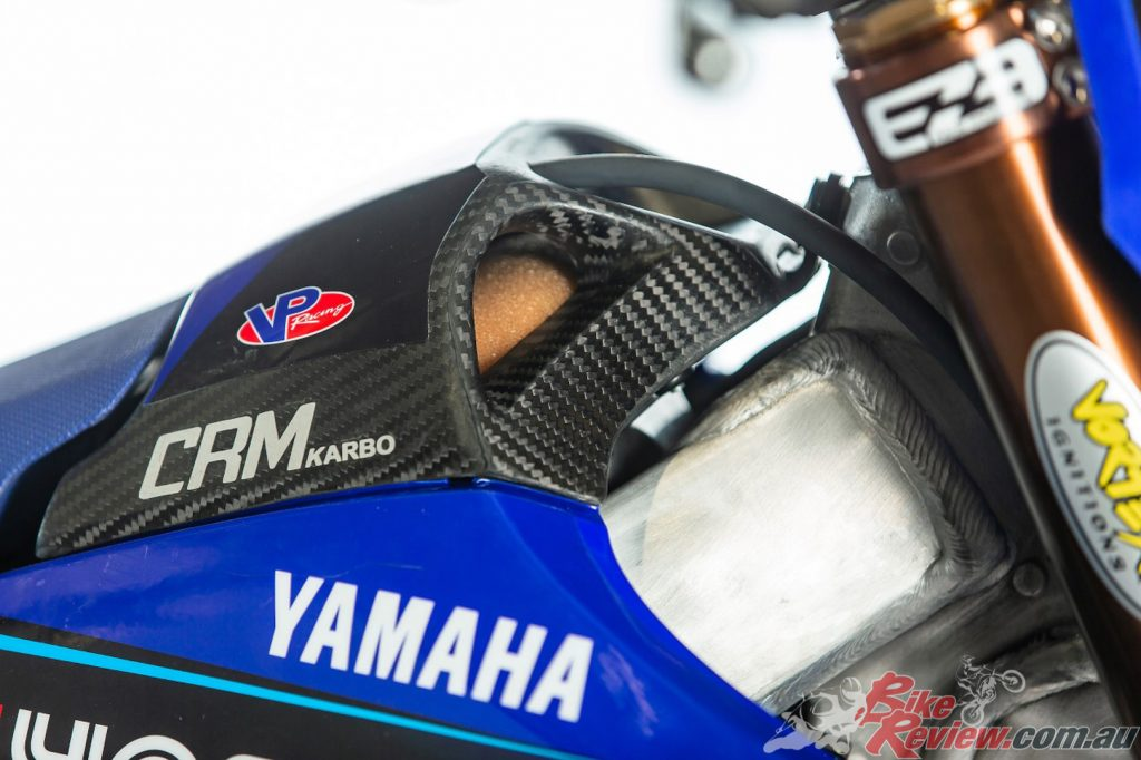 The Serco Yamaha team recently acquired a CRM carbon air box lid.
