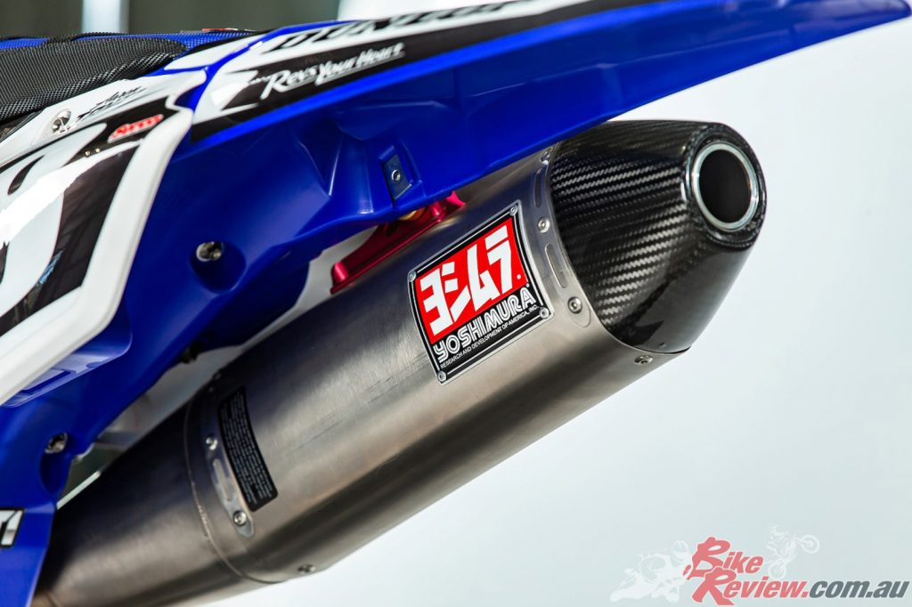 A Yoshimura exhaust can be seen at the rear end of Tanti's ride.